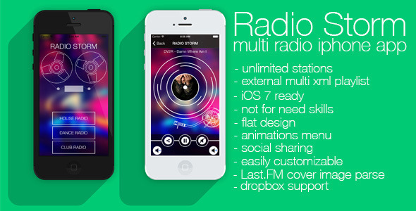 CodeCanyon Radio Storm multiradio app for iOS7 6137211