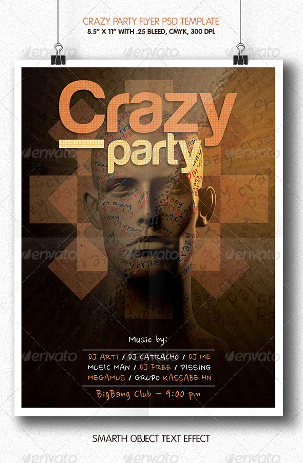 GraphicRiver Crazy Party Flyer Template 6161865
