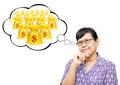 Asian senior woman thinking to money - PhotoDune Item for Sale