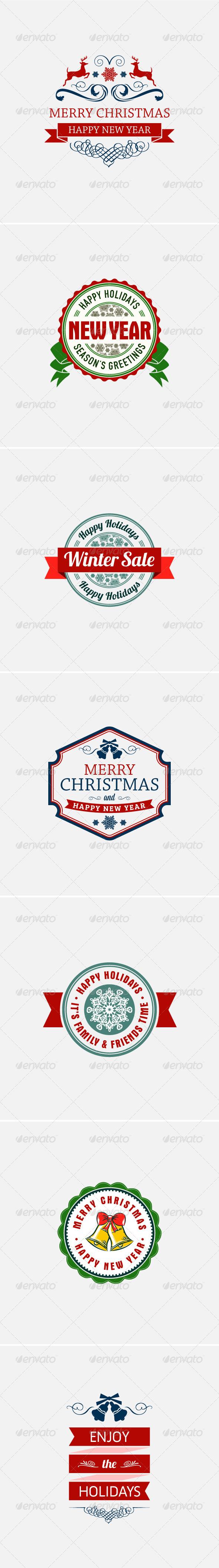 GraphicRiver 7 Christmas Holidays Themed Badges 6161896
