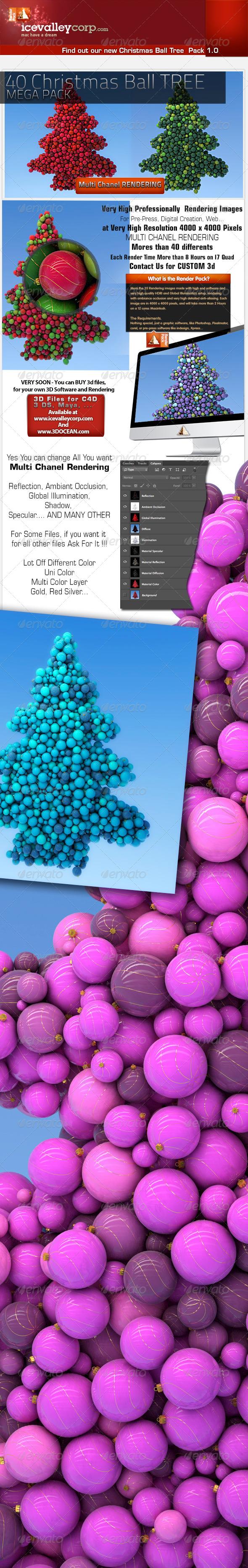 40 Hires Christmas Balls Tree - 4000 Pxl