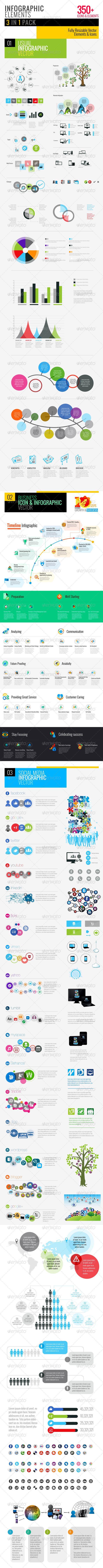 GraphicRiver Clean Infographics Pack 3 in 1 6162998