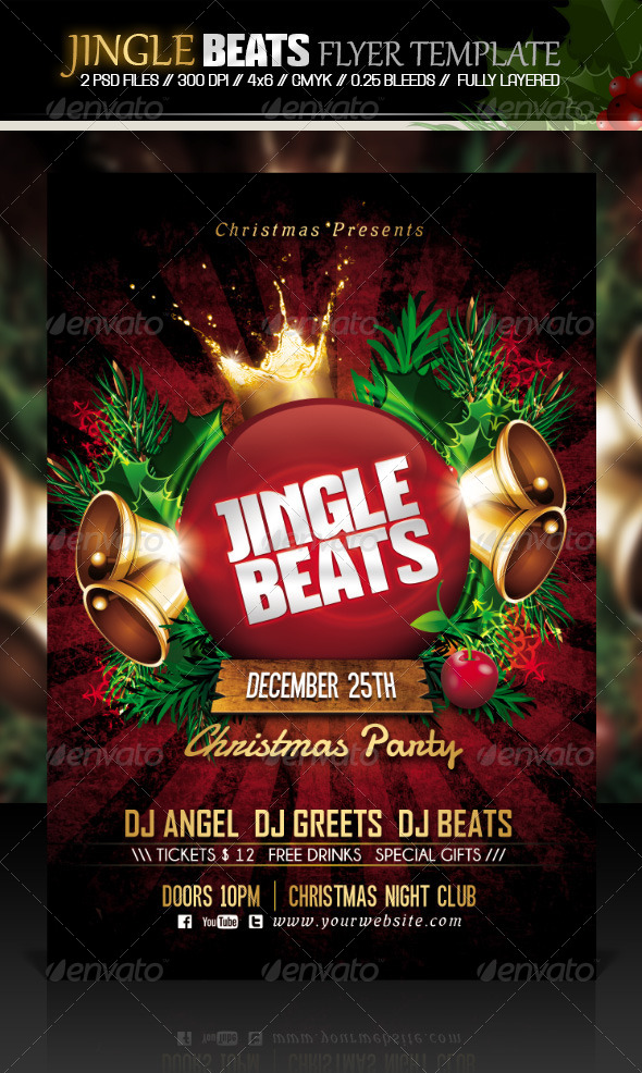 GraphicRiver Jingle Beats Christmas Party Flyer Template 6163217