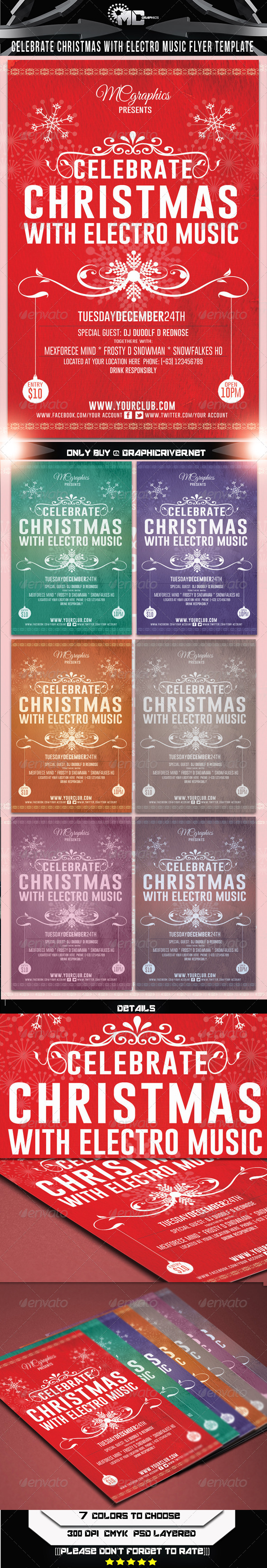 GraphicRiver Celebrate Christmas Electro Music Flyer 6163219