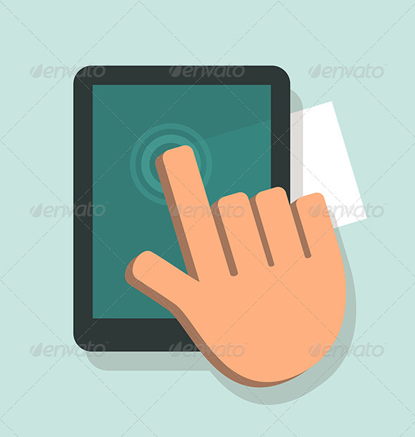 GraphicRiver Hand Touching A Digital Tablet 6163369