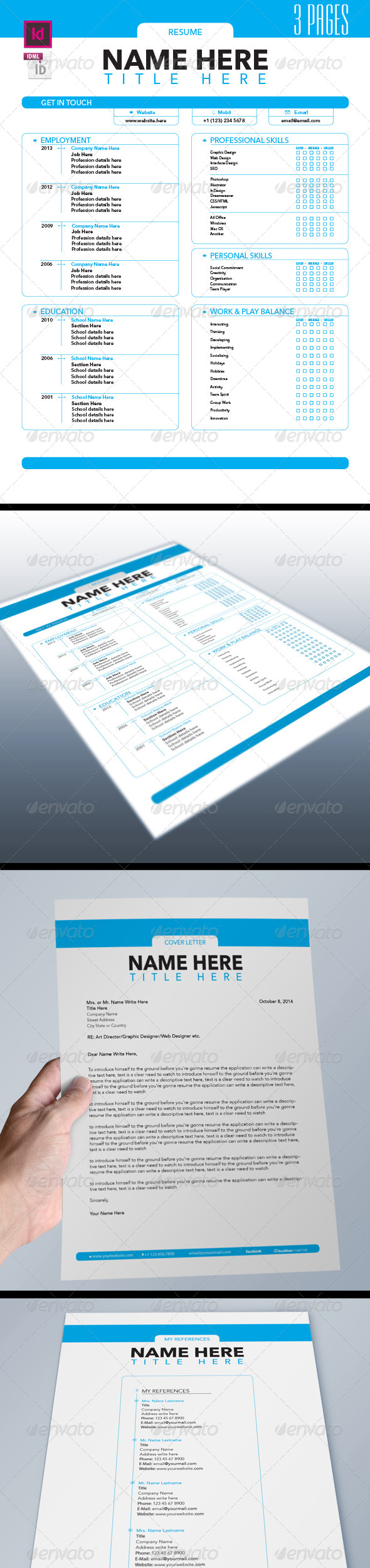 GraphicRiver Job Resume Set 3 Pages 6163397