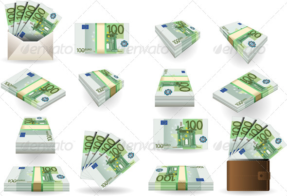 GraphicRiver Full Set of Hundred Euros Banknotes 6164448