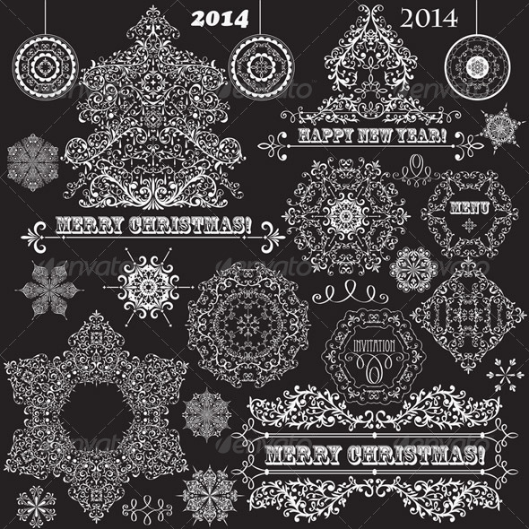 GraphicRiver Vector Vintage Christmas Design Elements 6159097