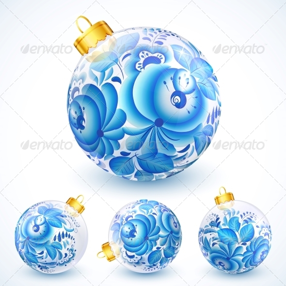 GraphicRiver White Christmas Balls with Blue Floral Ornament 6165458