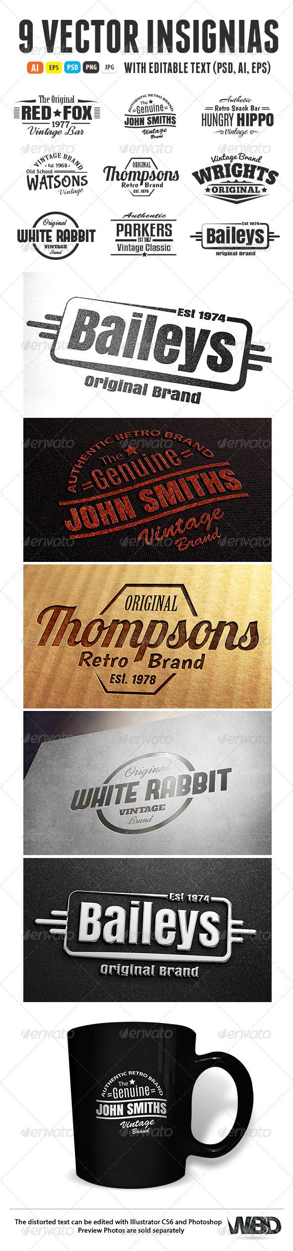 GraphicRiver 9 Vintage Retro Insignias 6167105