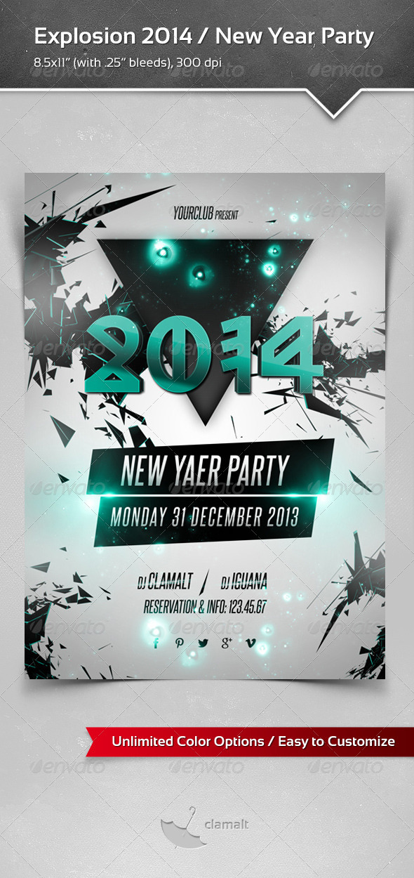 GraphicRiver Explosion 2014 New Year Party Poster 6058509