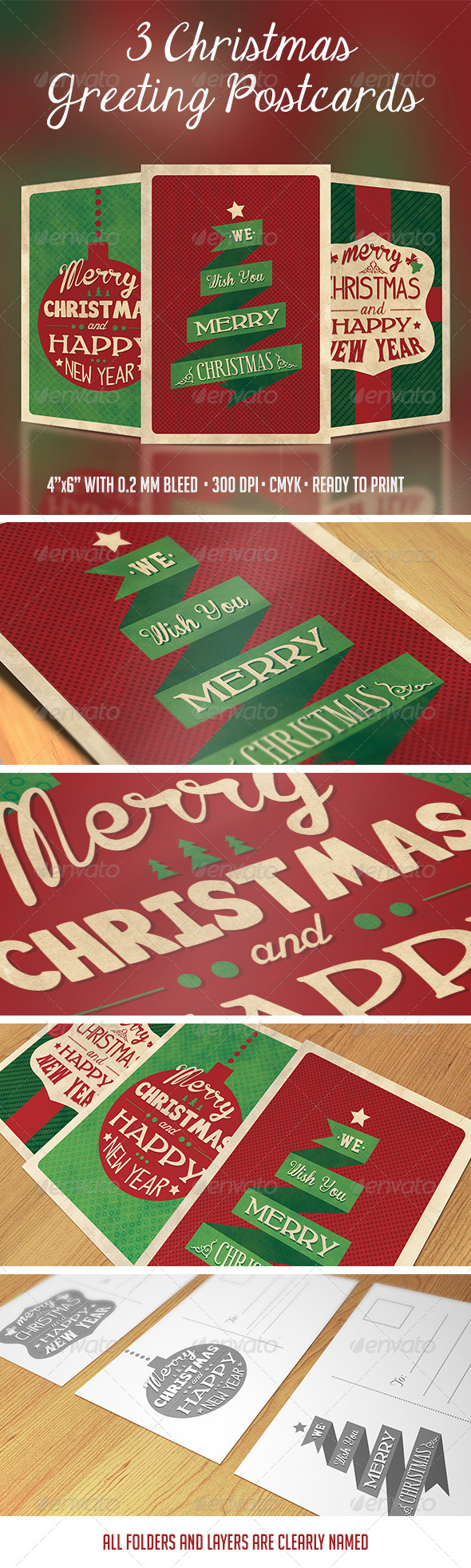 GraphicRiver 3 Christmas Greeting Postcards 6134892