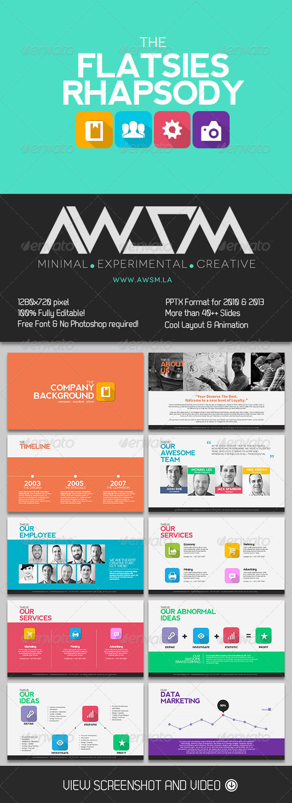 GraphicRiver Flatsies Rhapsody PowerPoint Presentation 6168034