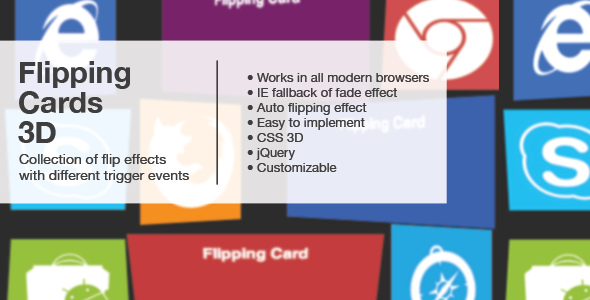 Flipping Cards 3D with jQuery CSS3