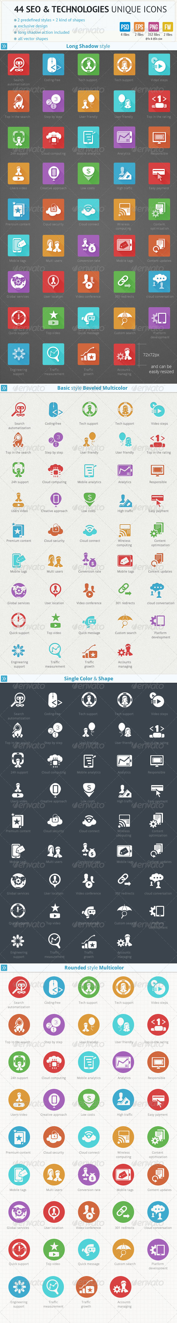 GraphicRiver 44 SEO and Technologies Unique Icons 6168229