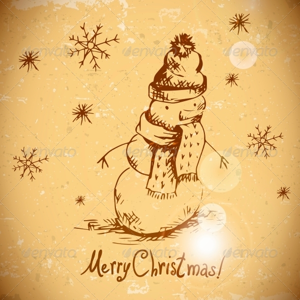 GraphicRiver Hand-Drawn Vintage Greeting Card with Snowman 6168346