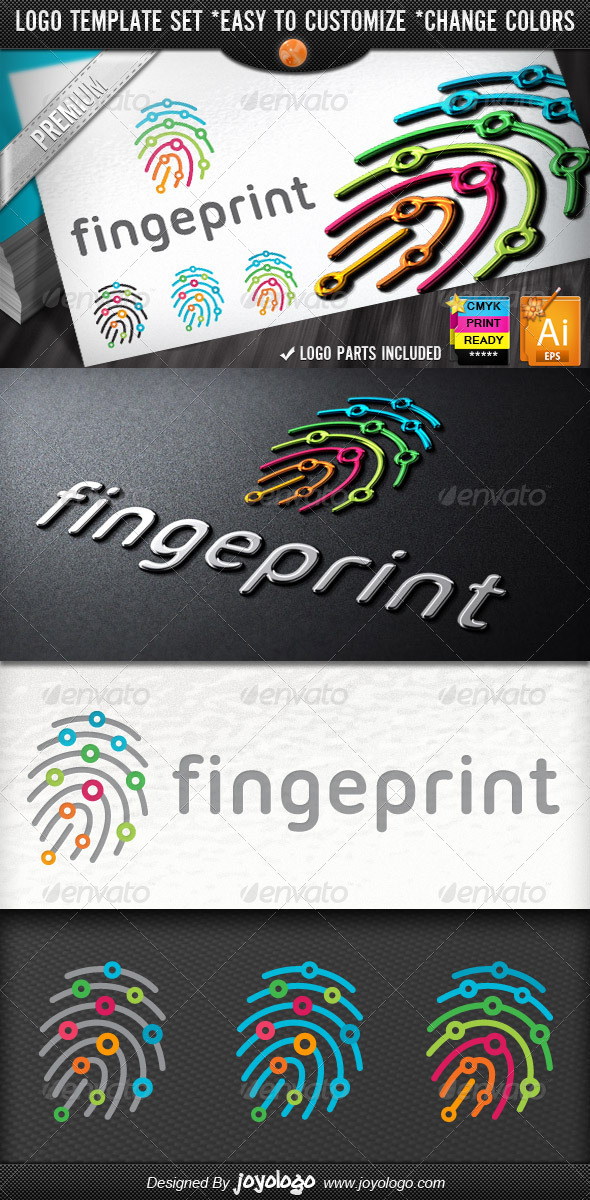 GraphicRiver Digitally Circuits Security Finger Print Logo Temp 6168446