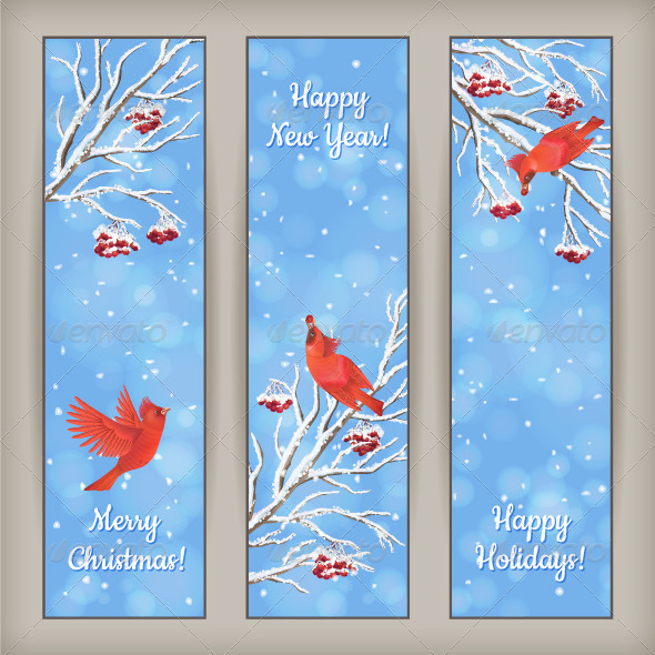 GraphicRiver Vertical Christmas Banners Bird Rowan Branches 6168615