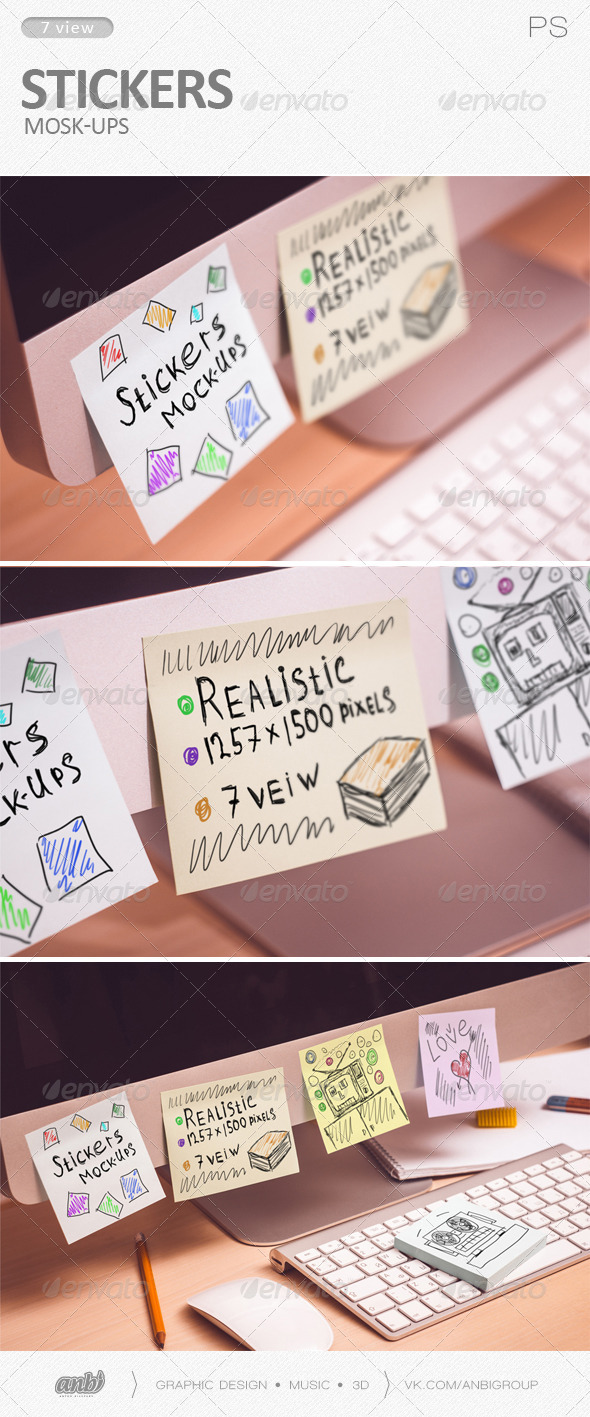 GraphicRiver Stickers Mock-Ups 6169466