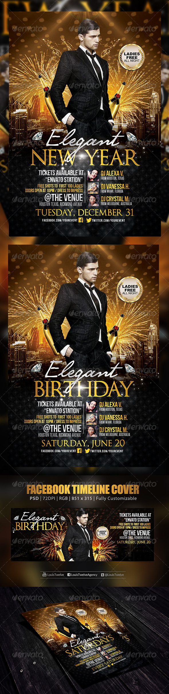 Elegant Birthday or New Year | Flyer + FB Cover - Clubs & Parties Events