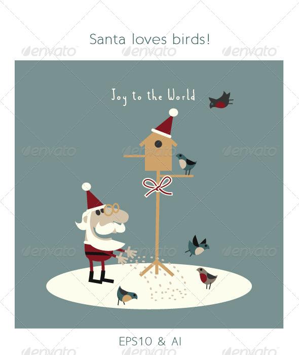 GraphicRiver Santa Feeding Birds in Snow 6169528