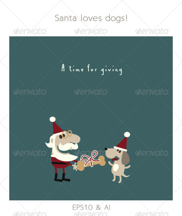 GraphicRiver Santa Giving his Dog a Christmas Bone 6169600