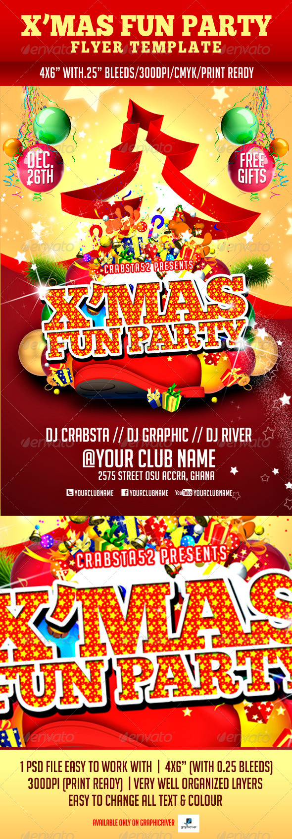 GraphicRiver X mas Fun Party Flyer Template 6170589