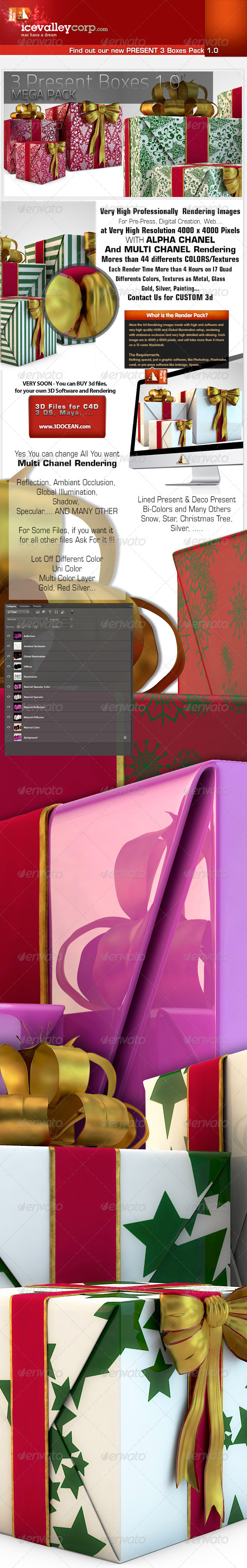 GraphicRiver 3 Present Pack Present Boxes in Hires 6171073