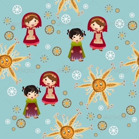 GraphicRiver Blue Pattern with Children 6171091