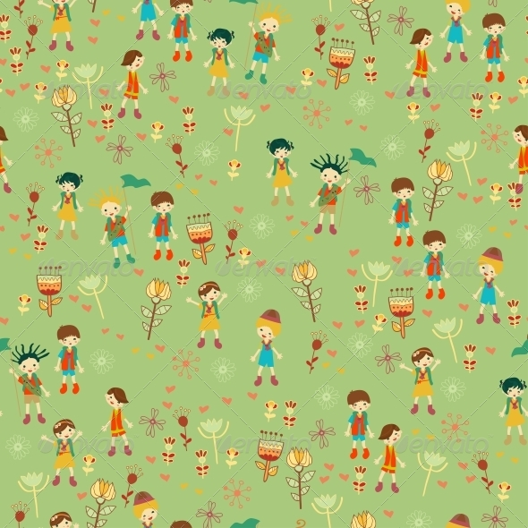 Green Child s Background with Flowers