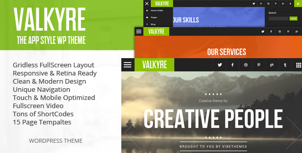 Valkyre is a gridless fullscreen template built over HTML5 and CSS3. This theme is best suited for mobile Apps, creative designers, agencies and portfolio websi
