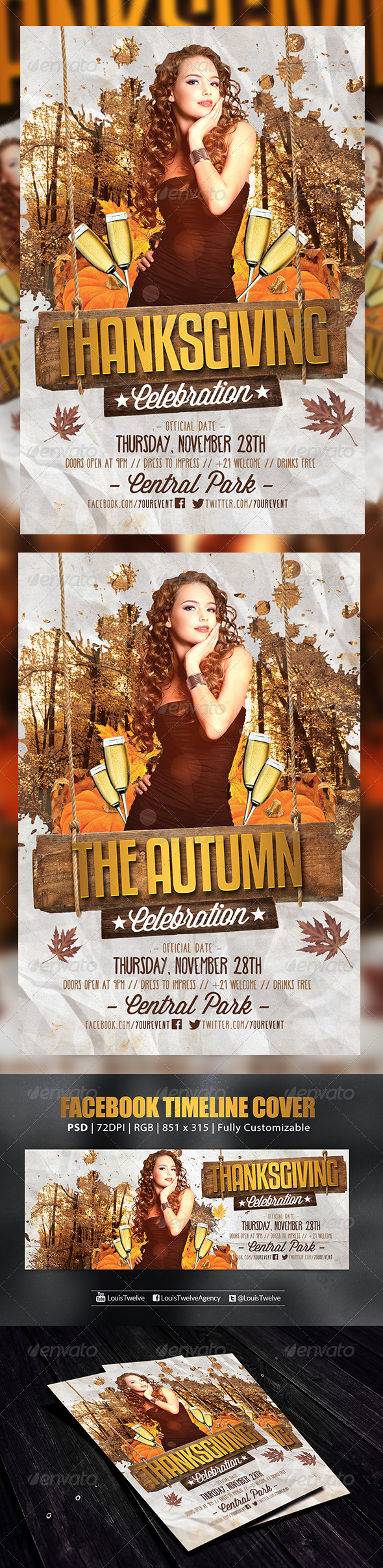 GraphicRiver Thanksgiving or Autumn Party 3 Flyer & FB Cover 6172251