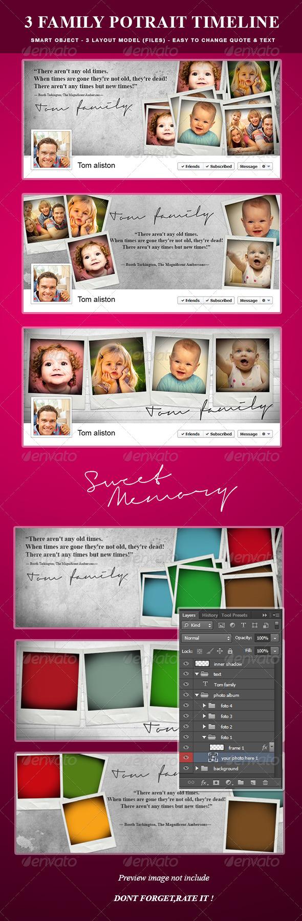 GraphicRiver Family Potrait Memory & Quote Timeline Album 6172318