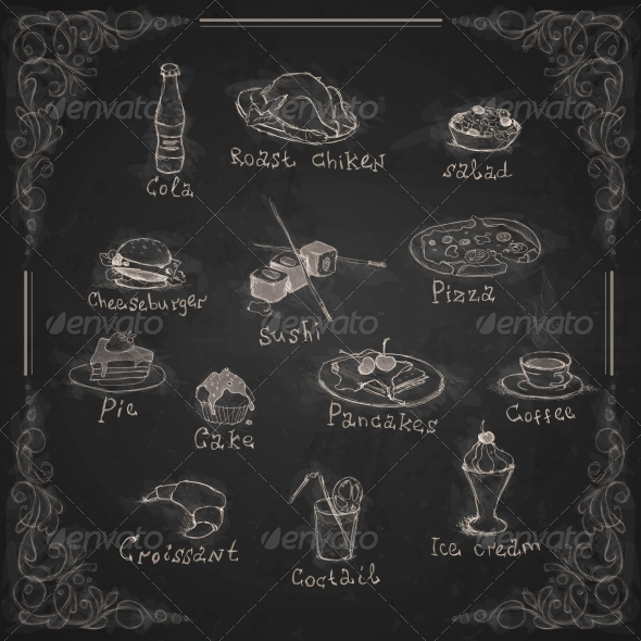 GraphicRiver Design Elements for the Menu on a Chalkboard 6172602