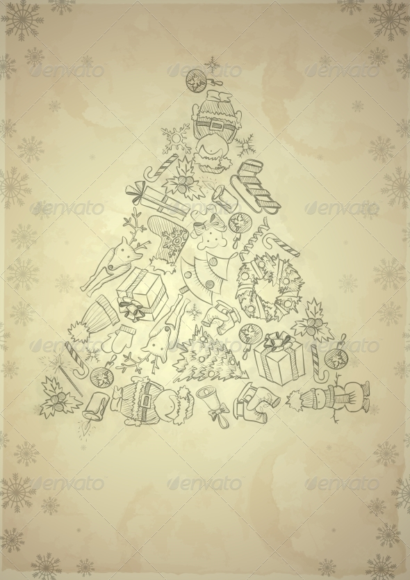 GraphicRiver Hand Drawn Christmas Set 6172610