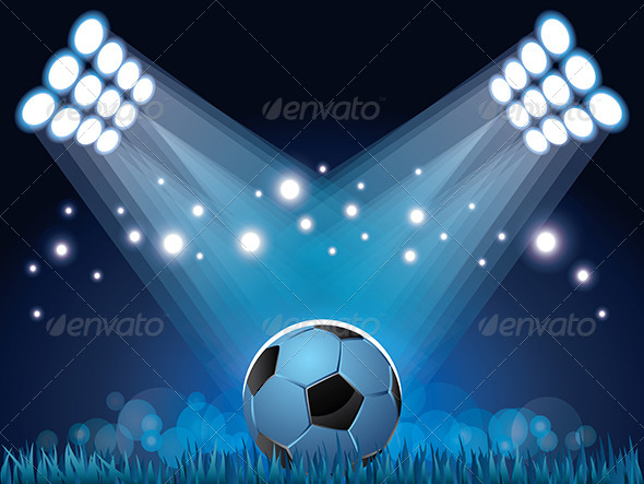 GraphicRiver Stadium Lights and Soccer Ball Background 6172640