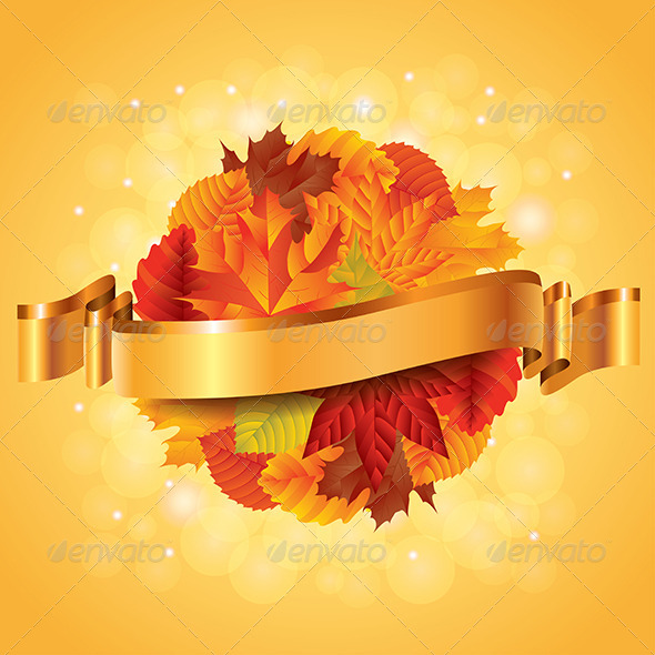Autumn Poster with Leaves Sphere and Ribbon