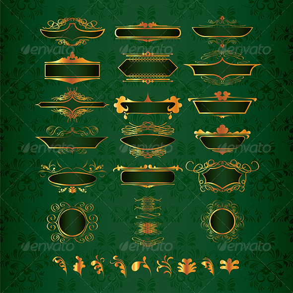 GraphicRiver Luxury Golden Decor Elements in Vector 6172697