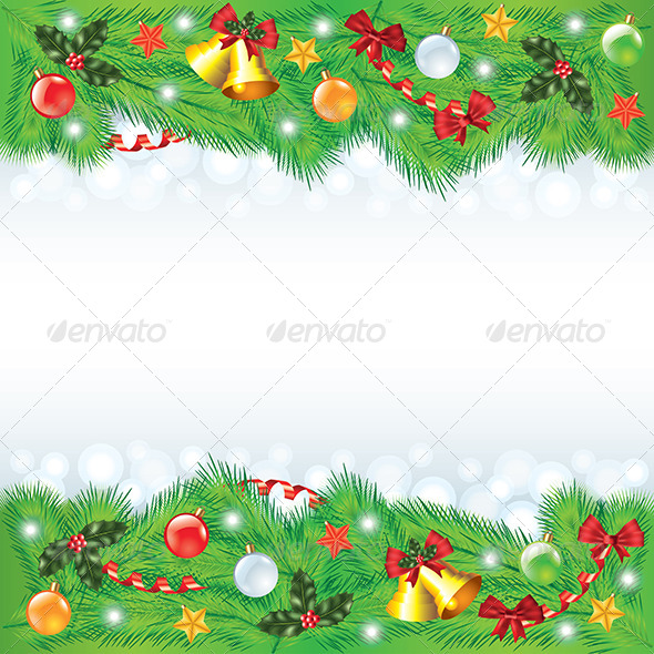 GraphicRiver Christmas Frame with Decorated Fir-Trees 6172701