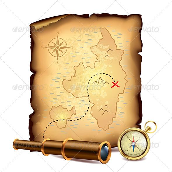 GraphicRiver Pirates Treasure Map with Spyglass and Compass 6172704
