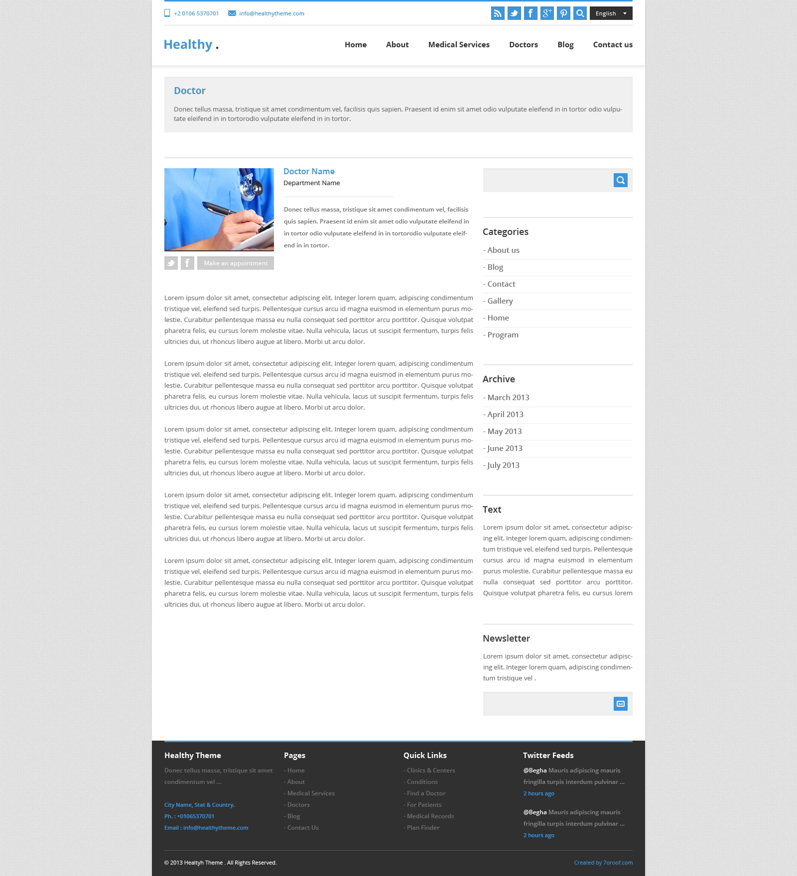 Healthy – Awesome Health and Medical PSD Template