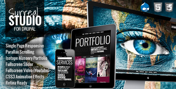 Surreal - One Page Parallax Drupal Theme - Creative Drupal