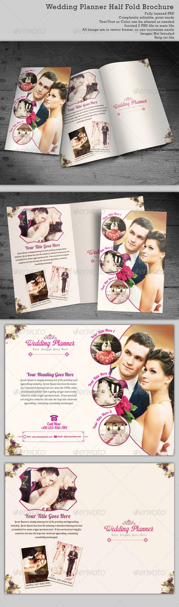 Wedding Planner Half-Fold Brochure Templates - Brochures Print Templates