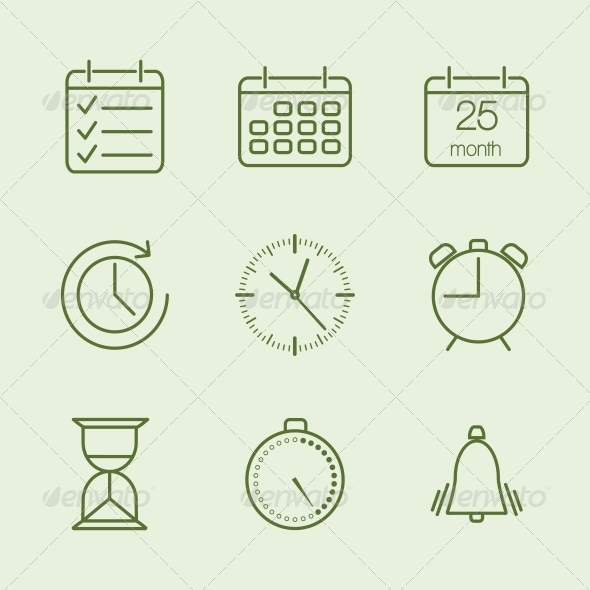 GraphicRiver Contoured Time and Calendar Icons 6174127