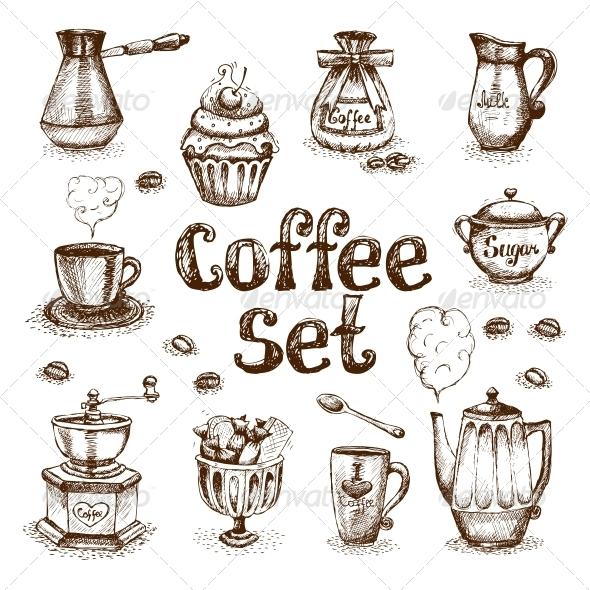 GraphicRiver Coffee Set 6174206