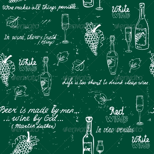 GraphicRiver Seamless Wine Pattern Chalkboard 6174213