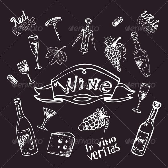 GraphicRiver Wine Set on Chalkboard 6174215