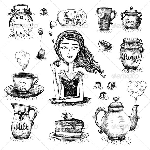 GraphicRiver Love of Tea Scene 6174217