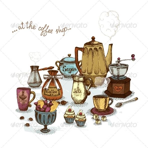 GraphicRiver Coffee Shop Still Life 6174223