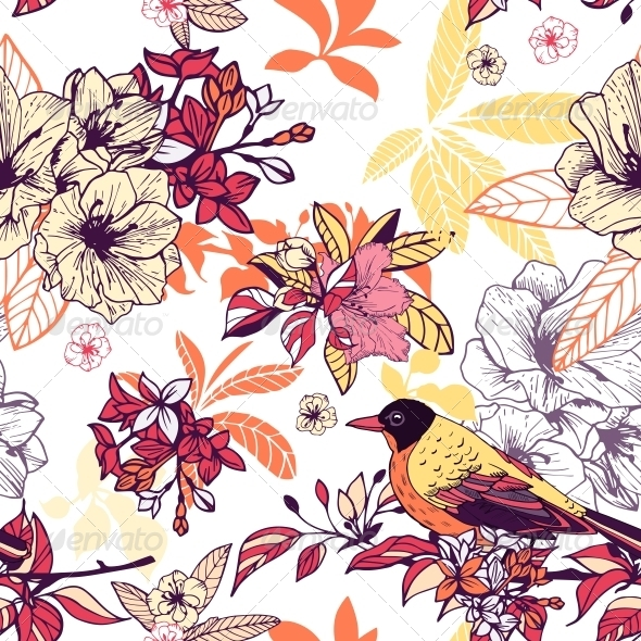 GraphicRiver Seamless Floral Pattern with Bird 6174314
